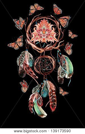 Dream catcher with feathers and all seeing eye in pyramid. Watercolor ethnic dreamcatcher and butterfly isolated on black background. Hand painted illustration for your design