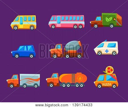 Different Toy Cars Collection Of Bright Color Vehicles In Simple Childish Style Isolated On Dark Background