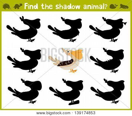 Educational game for children of kindergarten and school age on the development of logic. Pelican bird. Vector illustration