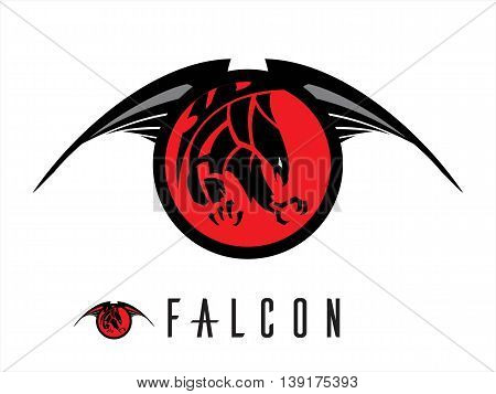 Falcon. Unique design of attacking falcon. chasing falcon with the extreme claw. attacking black falcon with sharp big claw on the winged red circle tribal.