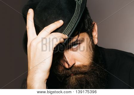 Bearded Gentleman In Black Retro Hat