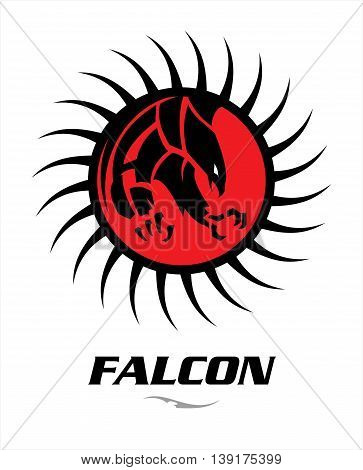 Falcon. Attacking black falcon with sharp big claw on the red circle tribal.