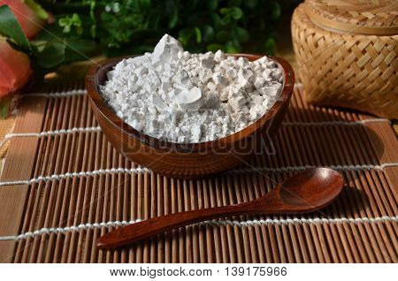 Pharmaceutical Grade Bulk Powders Products or cassava flour on bamboo tray