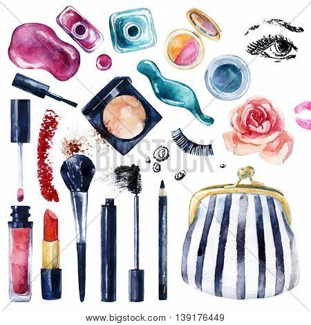 Watercolor beauty collection for make up. Essential makeup must-haves. Cosmetics set isolated on white. Beauty product background. Hand painted illustration for fashionable design.