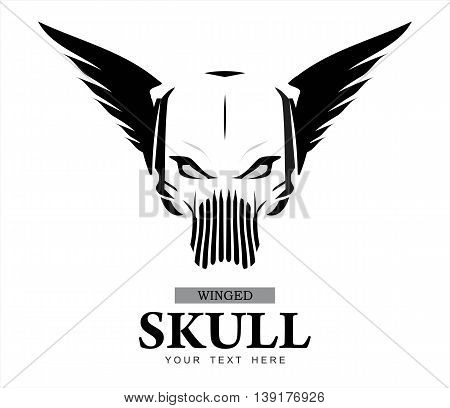 Winged Skull. warrior ghost. ghost warrior. winged ghost. Rider. Biker. Artwork. Winged Skull in black and white. Suitable for team identity insignia emblem mascot apparel biker community etc
