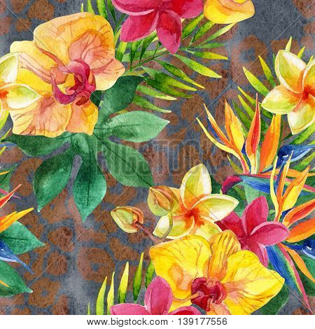 Tropical watercolor flowers leaves on animal print. Colorful exotic flowers on animal skin texture. Tropic seamless pattern on pelt background. Hand painted watercolor illustration for summer design