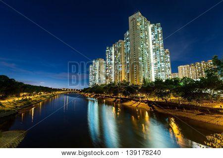 Hong Kong housing at night