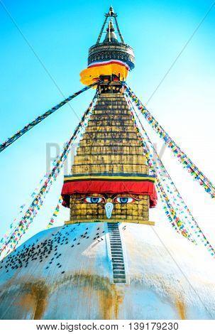 Buddhist stupa in Kathmandu Nepal. Religion concept