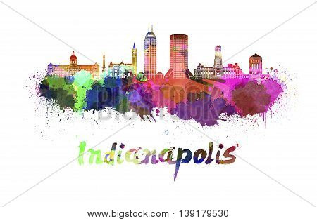 Indianapolis skyline in watercolor splatters with clipping path