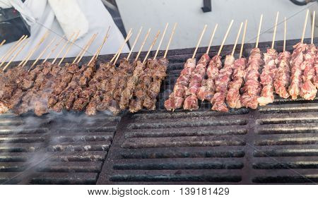 Kabobs grilling in the Vancouver Night Market