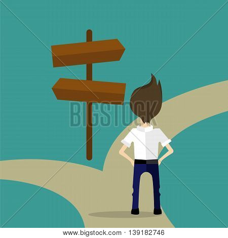 a man deciding which way he should go