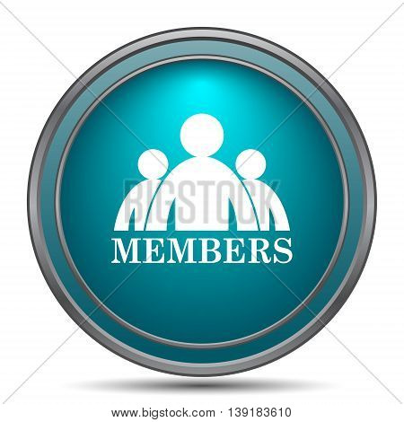 Members icon. Internet button on white background. poster