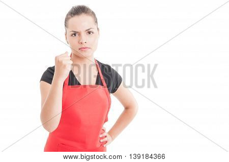 Aggressive Saleswoman On Market Fighthing With Somebody