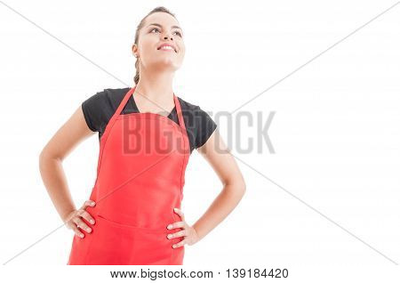 Attractive Woman Employee On Supermarket With Red Apron