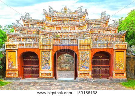 Hue, Vietnam - July 16th, 2011: Gateway Hien Lam Pavilion was built in 1824 by emperor Minh Mang, it Considered as memorial to those who had their lives devoted to establishment of the Nguyen dynasty