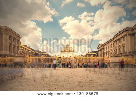 Versailles Chateau. France. View Of Golden Gate To Palace. Royal Residence Near Paris. King's Quarte