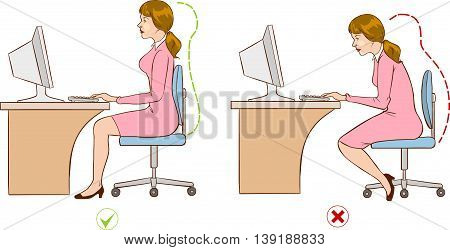 Girl sitting at an ergonomically correct computer station.
