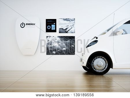 Central home energy storage battery unit with digital control panel and a car. 3D rendering.