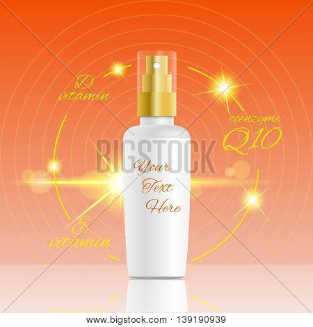 Spray Bottle Design Vitamin E Vitamin D And Coenzym Q10  Formula Vector Eps 10