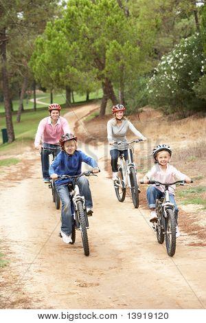Family enjoying bike ride in park