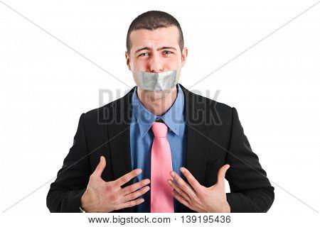 Businessman unable to talk