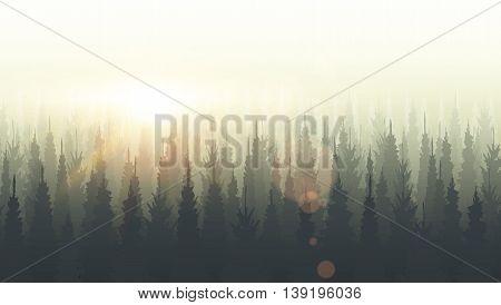 Coniferous Forest Silhouette Template. Sunset, Sunrise, Dusk