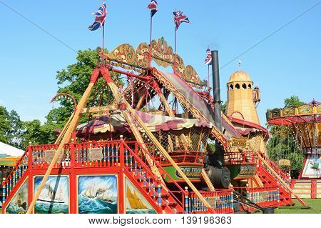 MALDON ESSEX UK 29 May 2014 Ride at outdoor fairground