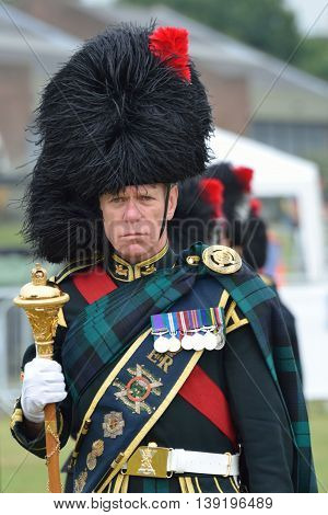 Military Tattoo COLCHESTER ESSEX UK 8 July 2014: Scottish Bandsman in bearskin