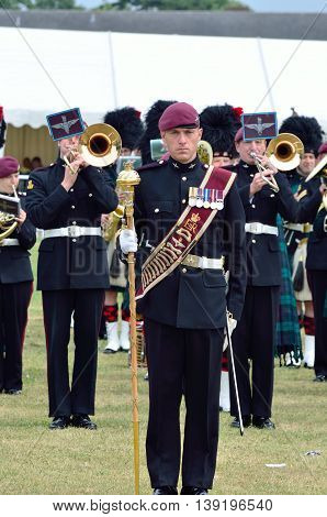 Military Tattoo COLCHESTER ESSEX UK 8 July 2014: Bandsmen on parade