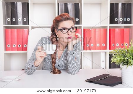 Bored Business Woman Working. Overwork Concept