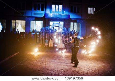 Presentable And Awesome Fire Show At Evening On Wedding Party.photo With Some Noice