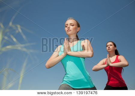 Young Two Women Doing Yoga Outdoors Photo Yoga Shows Poses