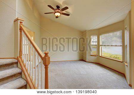 Empty Hallway Interior With Carpet Stairs View.