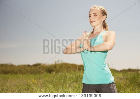 Beautiful Sport  Young  Woman Exercising In The Outdoors Yoga Photo On Nature
