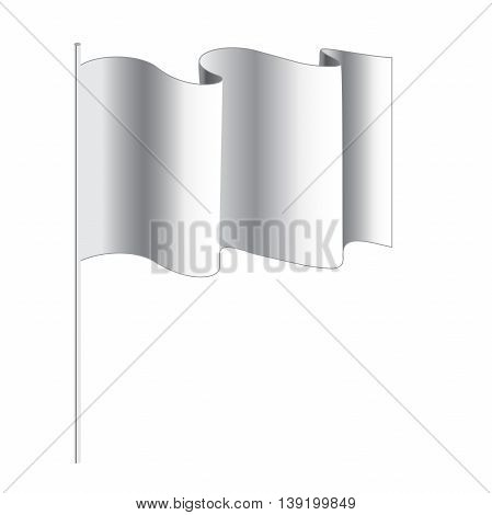 empty flag. Blank white flag. White banner with folds separate shadows for on any color. Vector White Blank Flag Isolated on Background