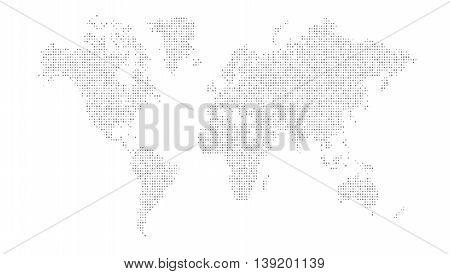 Dotted world map gray dots on white eps10 vector