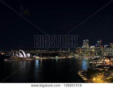 sydney harbour CBD opera house skyline famous landmarks in australia at night