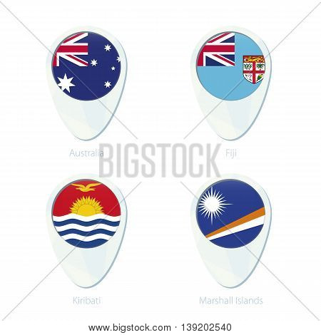 Australia, Fiji, Kiribati, Marshall Islands Flag Location Map Pin Icon.