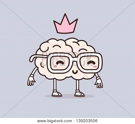 Vector illustration of retro pastel color smile brain with glasses and pink crown on gray background. Creative cartoon brain concept. Doodle style. Thin line art flat design of character brain for brainstorm science training education theme