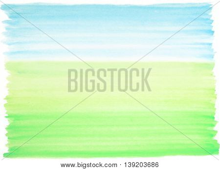 Watercolor background blue and green colors landscape