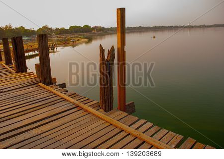 Landmark Landscape U Bein Bridge, Taungthaman Lake, Amarapura, Mandalay City Of Myanmar. Burma