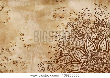 Calligraphic Vintage Pattern, Symbolic Flowers and Leafs, Abstract Floral Outline Ornament, Brown Contours on Wood Texture, Veneer Poplar Root