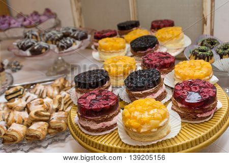 fruity dessert and other sweets served delicious