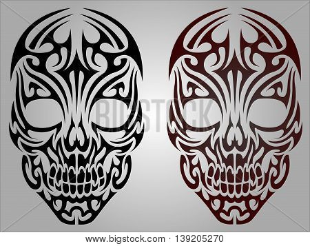 Vector illustration of skull black and red