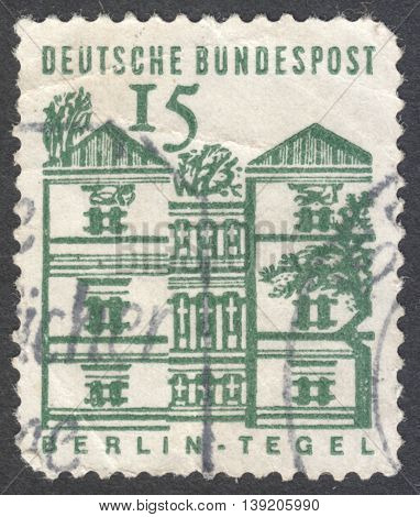 MOSCOW RUSSIA - JANUARY 2016: a post stamp printed in GERMANY shows Tegel Castle Berlin the series