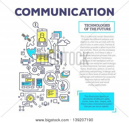 Vector creative concept illustration of interaction of phone, planet, laptop, clouds, time, bubbles with header and text on white background. Communication technology composition template. Hand draw flat thin line art style design for global computer netw