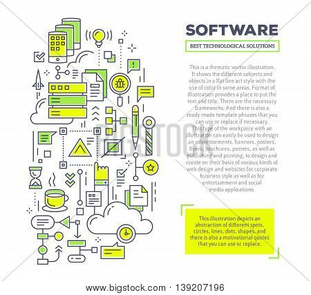 Vector creative concept illustration of interaction of server, phone, cloud, scheme, graph with header and text on white background. Software technology composition template. Hand draw flat thin line art style design for software and application developme