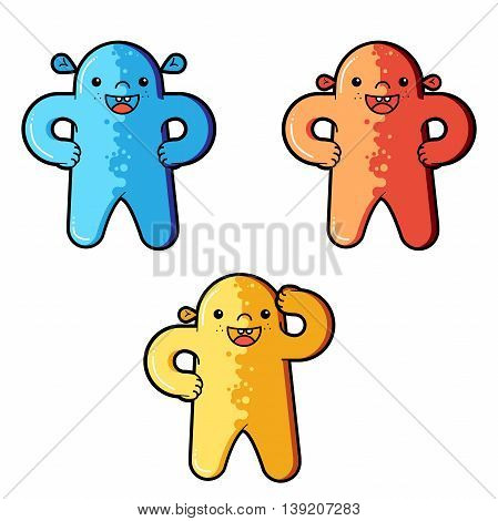 Funny aliens characters. Types of aliens. Vector cartoon funny monster character isolated. Funny cartoon and vector characters. Vector extraterrestrials image