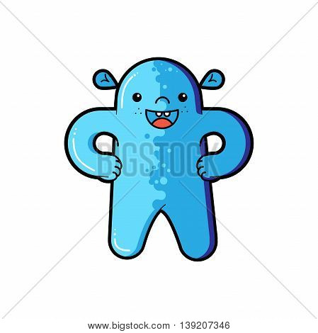 Funny alien character. Type of alien. Vector cartoon funny monster character isolated. Funny cartoon and vector character. Vector extraterrestrials image
