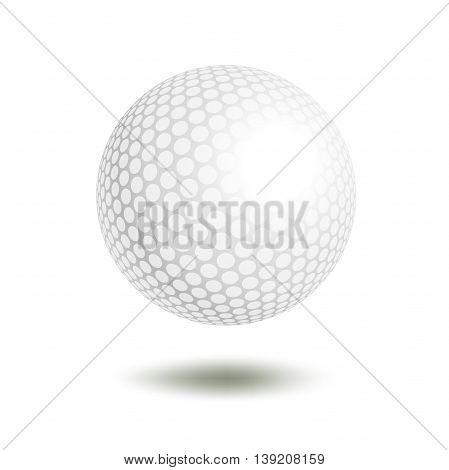 Vector golf ball isolated on white. Golf ball. Vector illustration a traditional white golf ball. Golf element for design logo